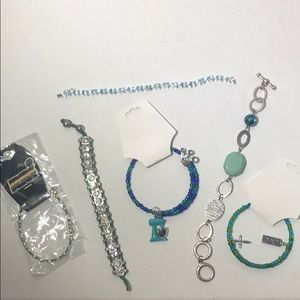 Lot of six - Aqua/blue-green Bracelets